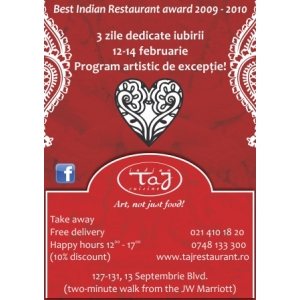 3 Zile de petreceri Valentine's Day la Restaurant Taj!
