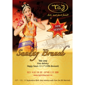 Taj Restaurant va propune MURGH TIKKA la Sunday Brunch!