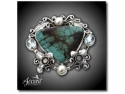 Bijuterii Swarovski. Accent Bijuterii - Broşă din argint cu turcoaz şi perle