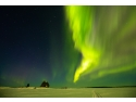 stil japonez. Aurora Boreala in Karelia, nordul Rusiei