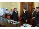 Gabriel Brojboiu. Primarul municipiului Buzău - Constantin Boșcodeală și Gabriel Ionescu - Deputy CEO Mira Telecom