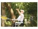 Imagini cu invingatorii - Crina Tugui, reprezentanta Romaniei la Jocurile Paralimpice de la Beijing si Stelian Matreata au castigat Cupa Vodafone la Tenis de Camp in Scaun Rulant