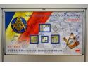 masoni. Timbrul a marcat aniversarea a 135 de ani de la înființarea Marii Loji Naționale din România