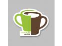 happy free coffee. Sticker care semnalizează implicarea unui local în campanie.