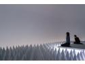 """basf. Opera de artă PSAD Synthetic Desert III manipulează sunetul, într-o cameră special concepută, prin folosirea a peste 1000 de piramide și de """"felii"""", care acoperă podeaua, pereții și tavanul expoziției, suprimând, astfel, toate sunetele, cu excepția celor ambientale, de nivel minim."""
