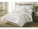 Lenjerii de pat albe din damasc pentru hotel - Niky Decor