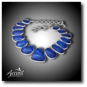 abalone. colier din argint cu abalone albastru la Accent Bijuterii