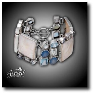 Accent Bijuterii - Bratara din argint cu acvamarin