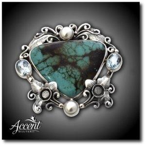 turcoaz. Accent Bijuterii - Broşă din argint cu turcoaz şi perle