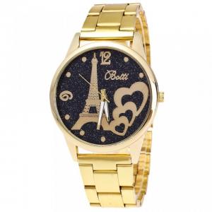 ceasuri cadou. ceas dama metalic auriu cu turnul eiffel