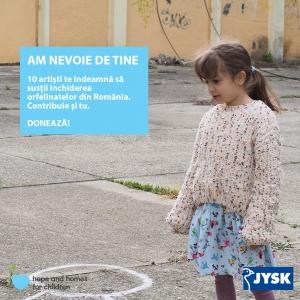"""JYSK și Hope and Homes for Children lansează campania """"Am nevoie de tine"""", împreună cu un videoclip caritabil"""