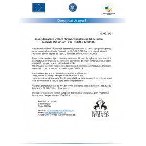 """Comunicat presa - Anunț demarare proiect """"Granturi pentru capital de lucru acordate IMM-urilor""""  V & I HERALD GRUP SRL - Masura 2"""