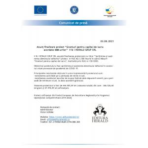 """Comunicat presa - Anunț finalizare proiect """"Granturi pentru capital de lucru acordate IMM-urilor""""  V & I HERALD GRUP SRL - Masura 2"""