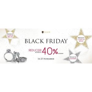 Sarbatoreste Black Friday  la TEZAUR cu reduceri de pana la 40% la bijuteriile din aur