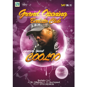 opening party. COOLIO Live @ Barletto Club Grand Opening Party Saturday 06 October