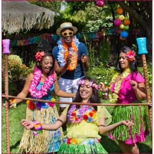 articoledepetrecere. Petrecere hawaiana. Ghirlande hawaiene, fuste hula, petrecere Luau Party