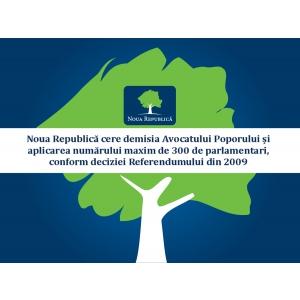 Noua Republica cere demisia Avocatului Poporului si aplicarea numarului maxim de 300 de parlamentari, conform deciziei Referendumului din 2009