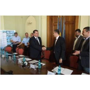 Primăria Buzău. Primarul municipiului Buzău - Constantin Boșcodeală și Gabriel Ionescu - Deputy CEO Mira Telecom