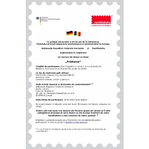 """Ambasada Germaniei timbru. Ambasada Germaniei la Bucureşti organizează, împreună cu Romfilatelia, un concurs de desene cu tema """"prietenie"""""""