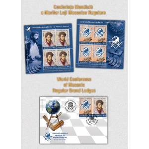 obiecte masonice. Conferinţa Mondială a Marilor Loji Masonice Regulare marcată pe timbrele româneşti