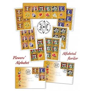 letrina. Descoperă alfabetul florilor ilustrat cu măiestrie pe timbrele româneşti