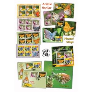 Fluturii călătoresc pe aripi de flori în lumea minunată a timbrelor