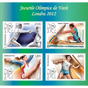 londra 2012. Cele 4 mărci poştale ale emisiunii Jocurile Olimice de Vară, Londra 2012