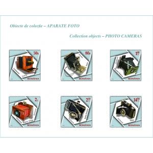 """aparate foto. Cele 6 mărci poştale ale emisiunii """"Obiecte de colecție – Aparate foto"""""""