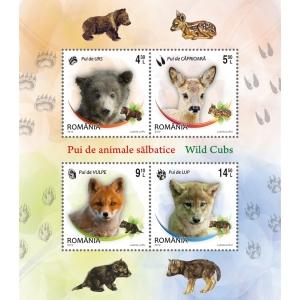 pui. Pui de animale sălbatice - blocul de patru timbre al emisiunii