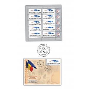 Elementele emisiunii de mărci poștale Președinția României la Consiliul Uniunii Europene