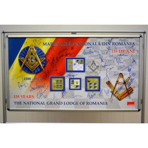 Timbrul a marcat aniversarea a 135 de ani de la înființarea Marii Loji Naționale din România