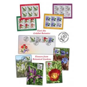 gradini botanice. Timbrul cinsteşte frumuseţea şi gingăşia florilor din grădinile botanice româneşti