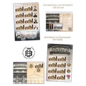 Universitatea Rom. Universitatea din Bucureşti aniversează 150 de ani de învăţământ superior de înaltă ţinută pe mărcile poştale româneşti
