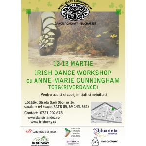 Anne-Marie Cunningham Dance Academy. WORKSHOP DE DANS IRLANDEZ cu Anne-Marie Cunningham