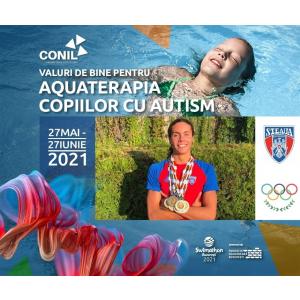 Multiplul campion David Popovici, 16 ani, component al Team România Tokyo 2021, înoată pentru  copiii cu autism din Asociația CONIL