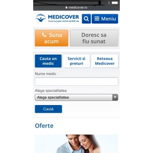 Medicover. Medicover lansează în premieră pentru sistemul medical privat din România  versiunea mobile a site-ului