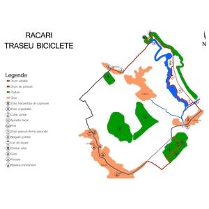 dambovita. Harta traseului de biciclete de la Racari