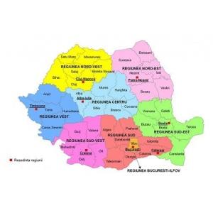 agroturism. harta regiunilor de dezvoltare - Romania