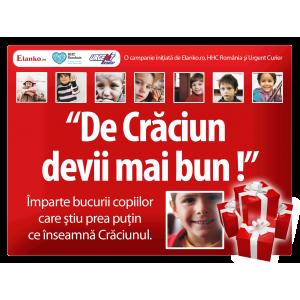 """""""De Crăciun devii mai bun !"""", o campanie umanitară iniţiată de Elanko.ro, Fundaţia Hope and Homes for Children România şi Urgent Curier"""