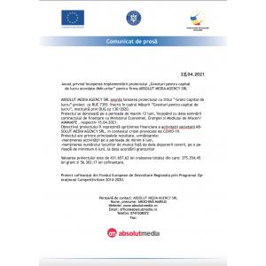 Anunt implementare masura 2 Granturi pentru capital de lucru pentru SC ABSOLUT MEDIA AGENCY SRL