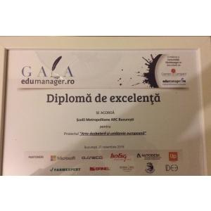 Diploma de excelenta pentru proiectul Scolii Metropolitane ARC - Arta dezbaterii si cetatenie europeana