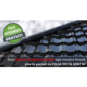 burlane. Promoție acoperișuri Novatik: GRATUIT folia anticondens Delta-Vent N