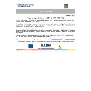 """tiparire. SC DEPO LOGISTIC IMPEX SRL anunta că în perioada Martie-Decembrie 2014  a derulat proiectul cu titlul """"EUROPRINT2010 – ATELIER MODERN DE TIPARIRE""""  Cod SMIS 31608."""