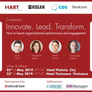 "Conferinta ""Innovate. Lead. Transform – How to boost organizational performance and engagement"" – Timisoara, 23 mai 2019 – Hotel Timisoara"
