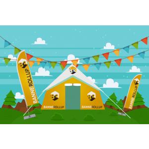 Niciun eveniment în aer liber fără corturi personalizate și steaguri velă
