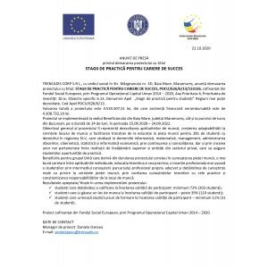 ANUNȚ DE PRESĂ privind demararea proiectului cu titlul STAGII DE PRACTICĂ PENTRU CARIERE DE SUCCES