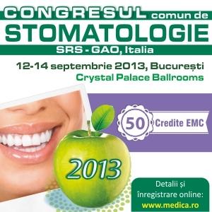 Congresul  Comun de Stomatologie -  Editia 2013,  50 credite EMC