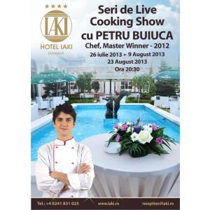 Seara de Cocktail cu prezentare de moda alaturi de Catalin Botezatu si Show de LIve Cooking cu Petru Buiuca, la Hotel IAKI, din Mamaia