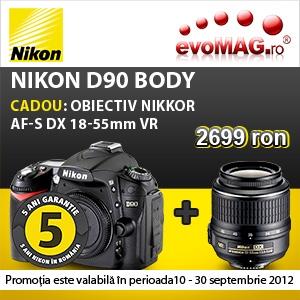 Nikon D90. Doar la evoMAG, Nikon D90 cu cel mai mic pret de pe piata!