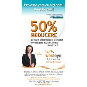 retinopatie diabetica. 50% Reducere la consultul oftalmologic pentru cataracta si retinopatie diabetica